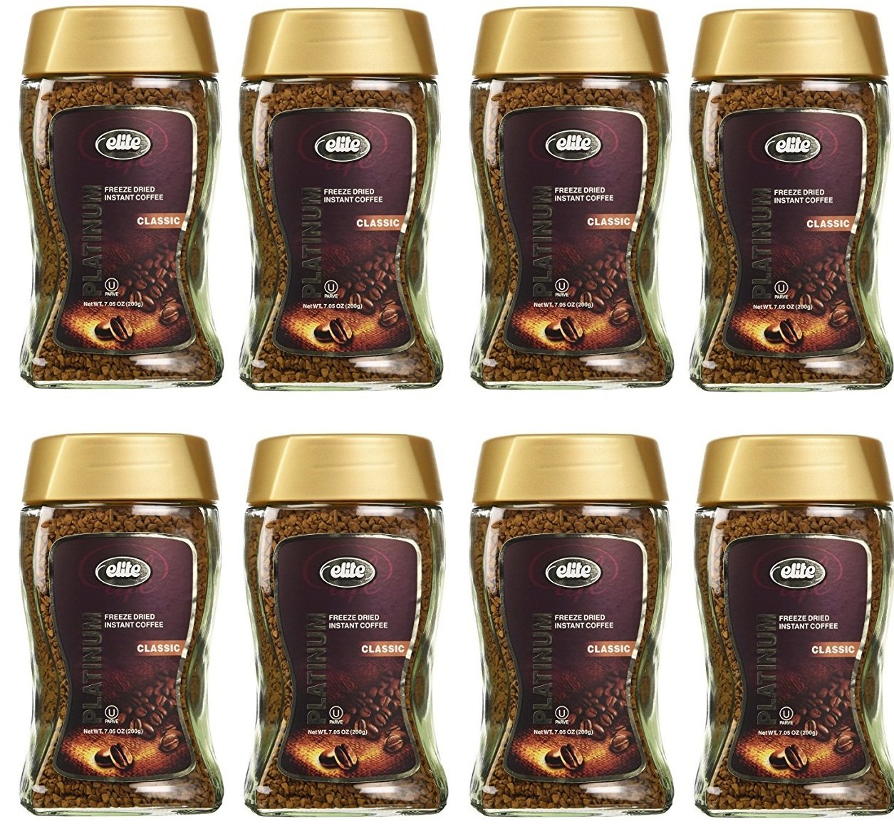 Elite Platinum Freeze Dried Instant Coffee Classic 7.5 oz (Pack of 8) by Elite