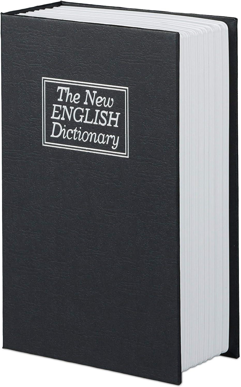 Stahlfach in Taschenbuchgr/ö/ße Buchsafe Relaxdays Buchtresor mit Schl/üssel rot HBT: 18 x 11,5 x 5,5 cm klein