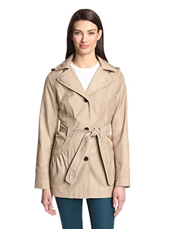4d2593692 Amazon.com  Laundry by Design Women s Hooded Belted Trench Coat (Beige