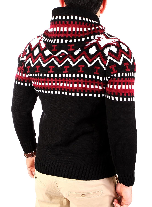 Strickpullover f/ür M/änner RS-3013 Reslad Norweger Pullover Herren Winterpullover Kapuzenpullover