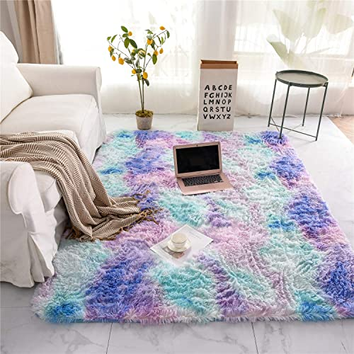 Holawakaka Shaggy Fluffy Faux Fur Area Rug