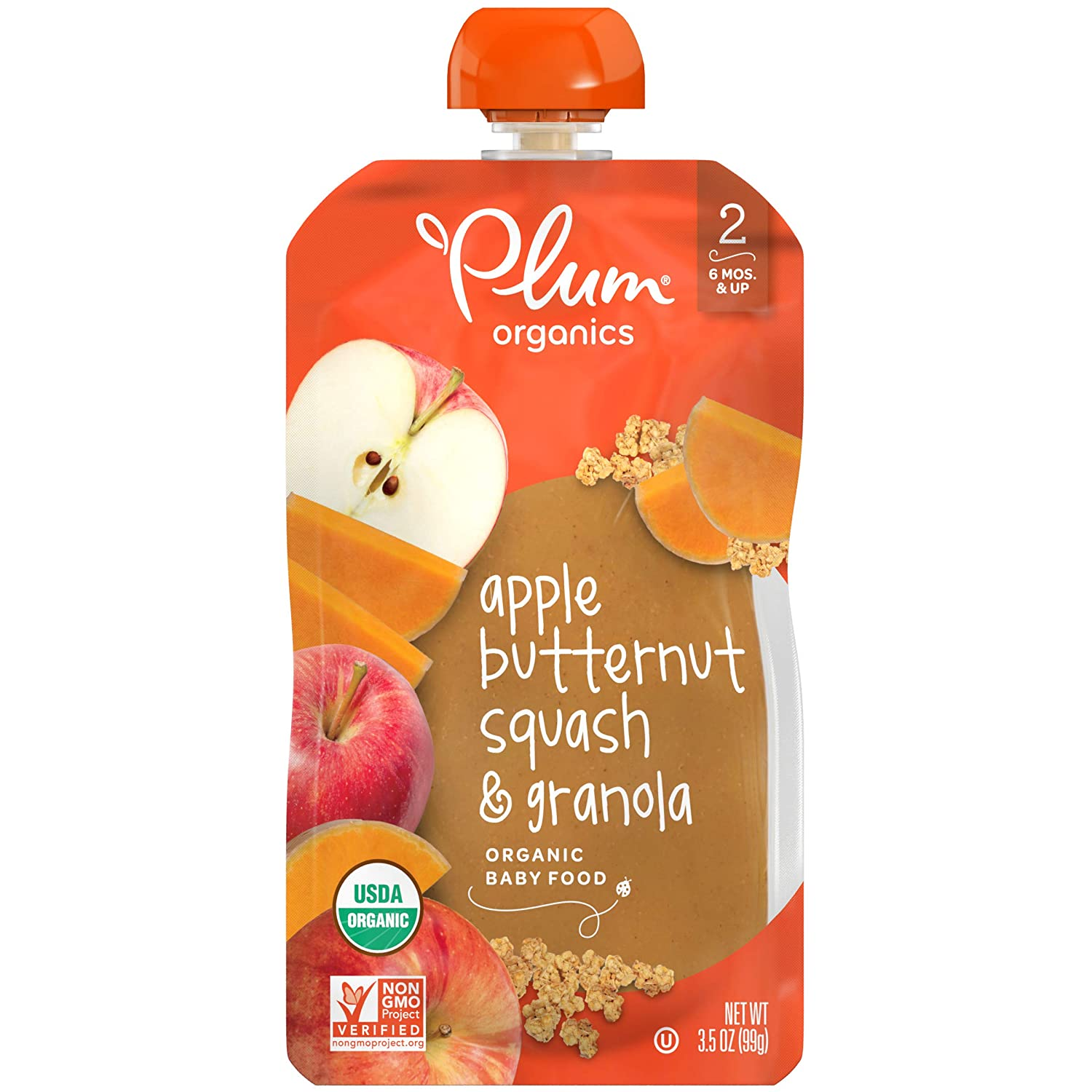 Plum Organics Stage 2 Organic Baby Food, Apple, Butternut Squash & Granola, 3.5 Ounce Pouch (Pack of 6)
