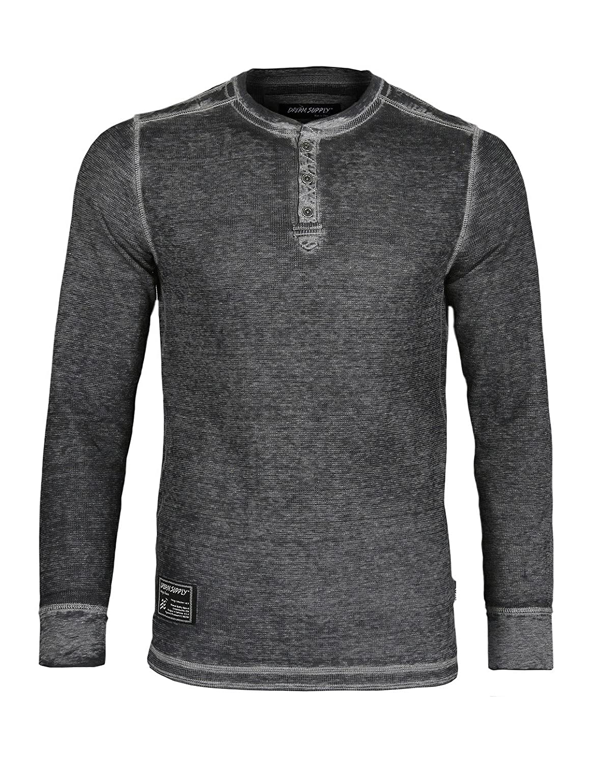 ZIMEGO Men's Casual Long Sleeve Lightweight Burnout Thermal and Heather Henley