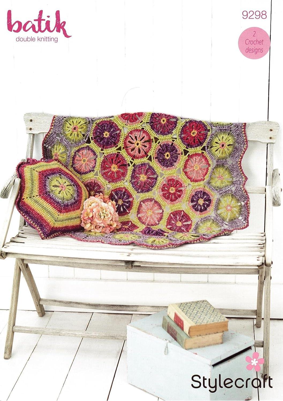 Stylecraft 9298 Crochet patrón hexagonal flores manta y ...