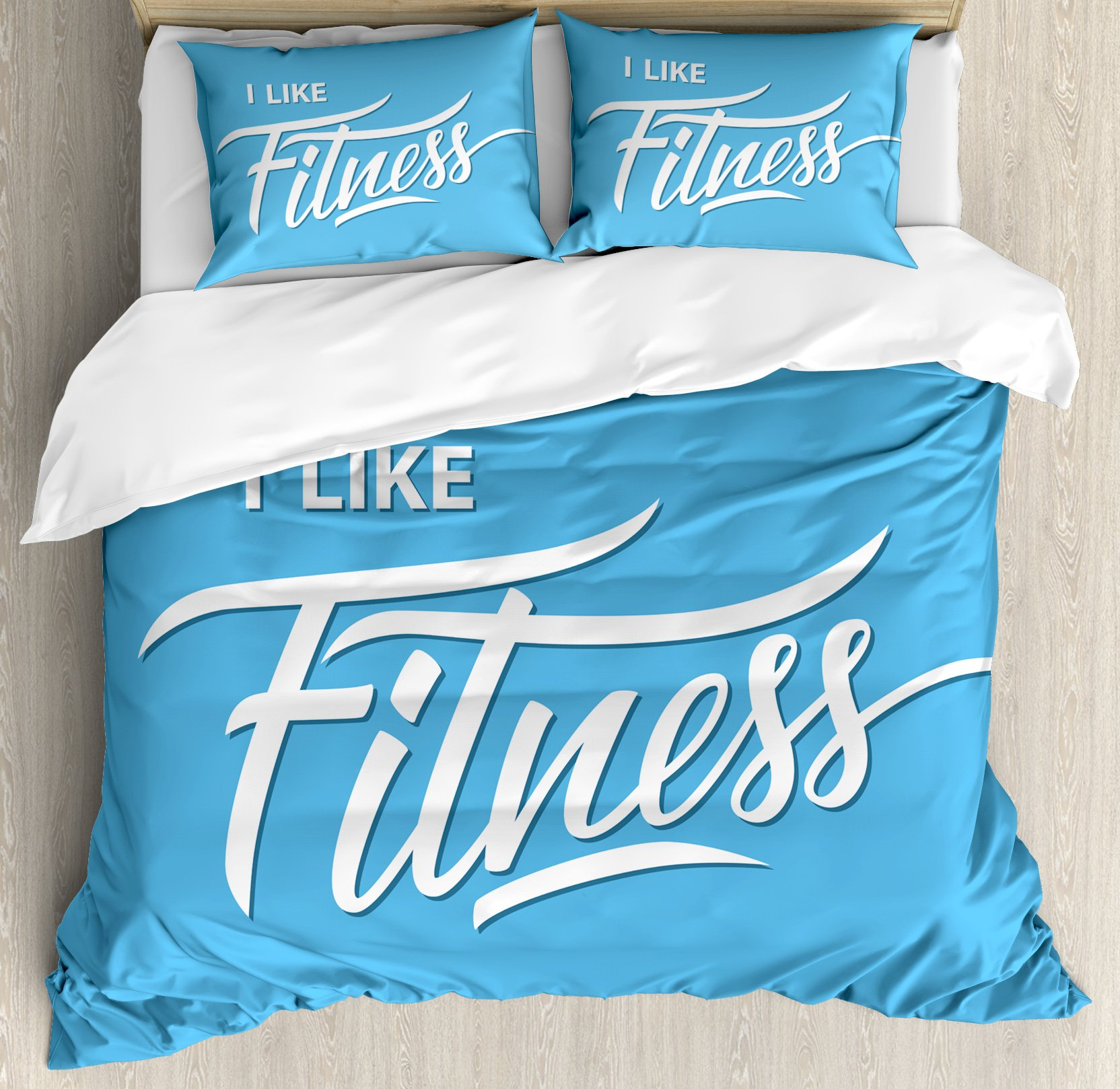 Fitness Duvet Cover Set King Size by Ambesonne, I Like Fitness Sports and Work Out Athletic Lifestyle Theme Exercise Health, Decorative 3 Piece Bedding Set with 2 Pillow Shams, Light Blue White