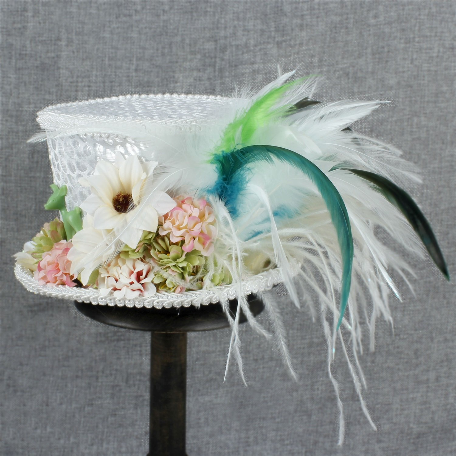 LL Women's White Mini Top Hat Tea Hat Mad Hatter Tea hat, Bridal Hat, Kentucky Derby hat (Color : White, Size : 25-30cm) by LL (Image #8)