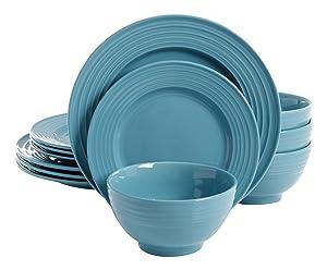 Gibson Home 114331.12RM Plaza Café 12 Piece Round Dinnerware Set, Turquoise