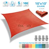 Patio Paradise 10'x10' Red Sun Shade Sail Square Canopy - Permeable UV Block Fabric Durable Patio Outdoor - Customized Available