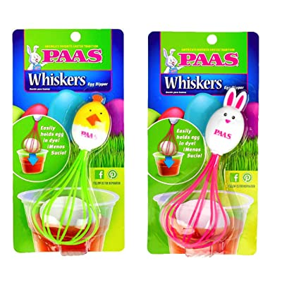 Paas Egg Dipper Whiskers - Set of 2 - Pink Bunny & Green Duck - Less Mess Dying Easter Eggs: Toys & Games