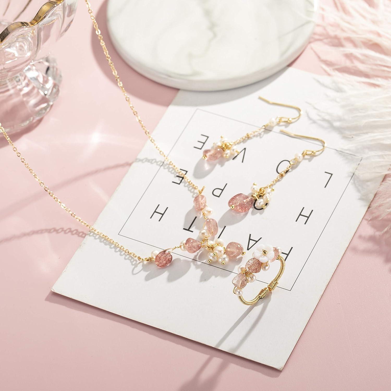 Joeyan Ensemble de Bijoux Main Rose Tourmaline Perle 925 Argent 14K Or Boh/ème Femmes Mariage Boucles doreilles Collier Bracelet Bague Vacances