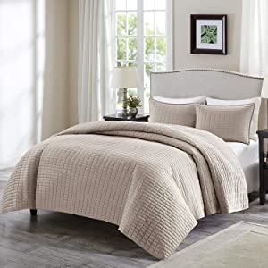 Comfort Spaces Kienna 2 Piece Quilt Coverlet Bedspread Ultra Soft Hypoallergenic Microfiber Stitched Bedding Set, Twin/Twin XL, Taupe