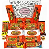 Reeses American Candy Gift Hamper | Peanut Butter Chocolate Selection | Assortment Includes Peanut Butter Cups Pieces Sticks Nut Bars Miniatures | 18 Items in Retro Sweets Gift Box