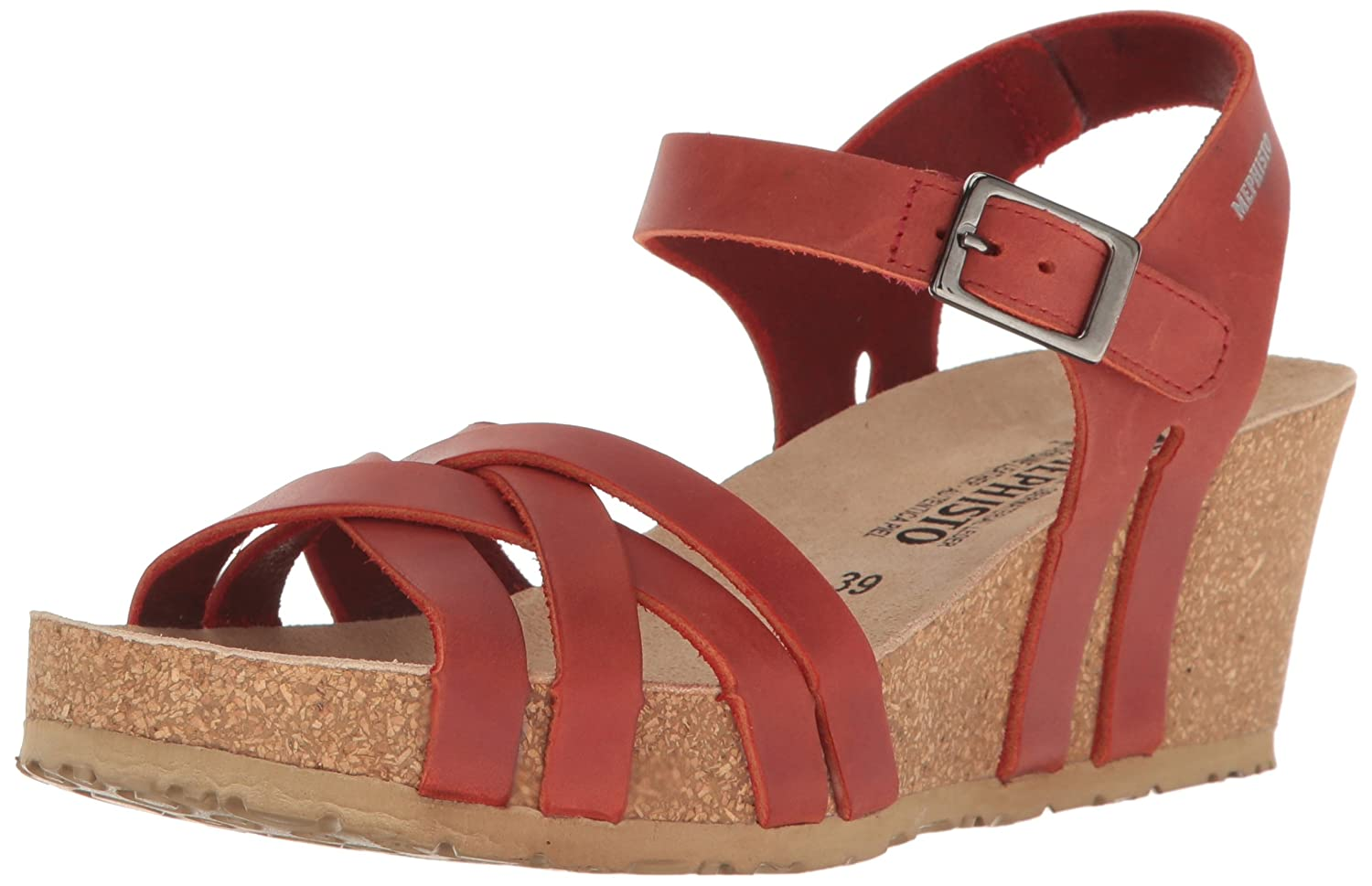 Mephisto Women's Lanny Wedge Sandal B01KYK9NOY 6 B(M) US|Red Scratch