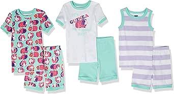 Spotted Zebra Pijama de algodón de Ajuste cómodo Niñas, Pack de 6