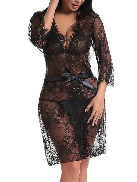 b3f3de1a4f FasiCat Women Sexy Lace Kimono Robe Babydoll Bra Set Lingerie Chemise  Sleepwear Set