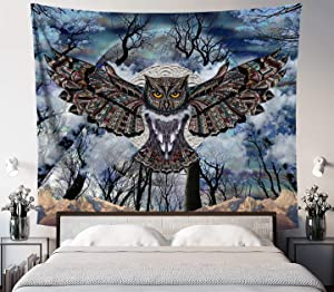 Lucid Eye Studios Moon Owl Tapestry- Blue Mandala Wall Tapestry- Dark Forest Design- Animal Wall Hanging- Mountain Wall Artwork- Dorm Wall Hanging- 58x51 inches