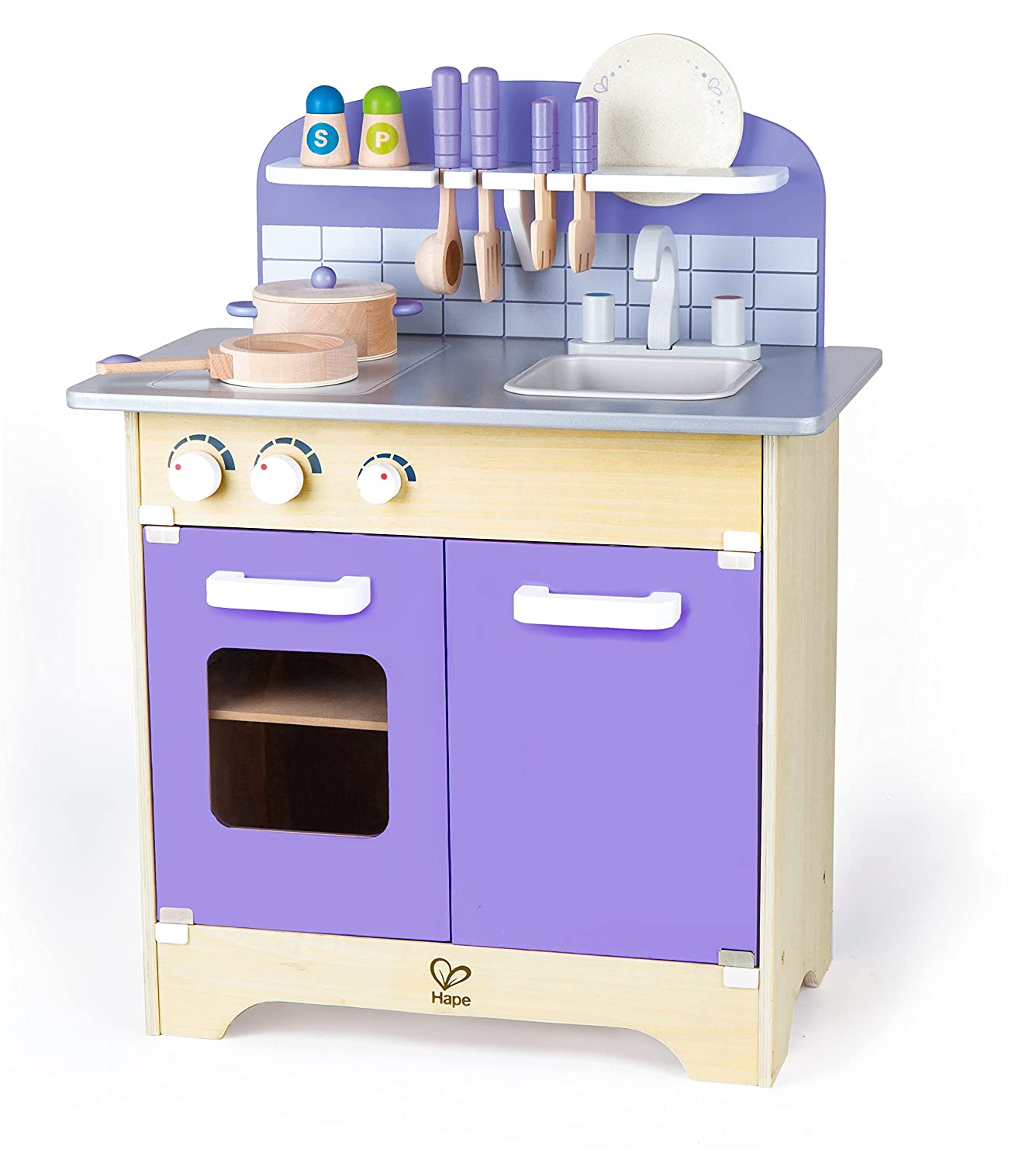 Hape wooden kitchen play set toy for kids with deluxe for Kitchen set toys amazon