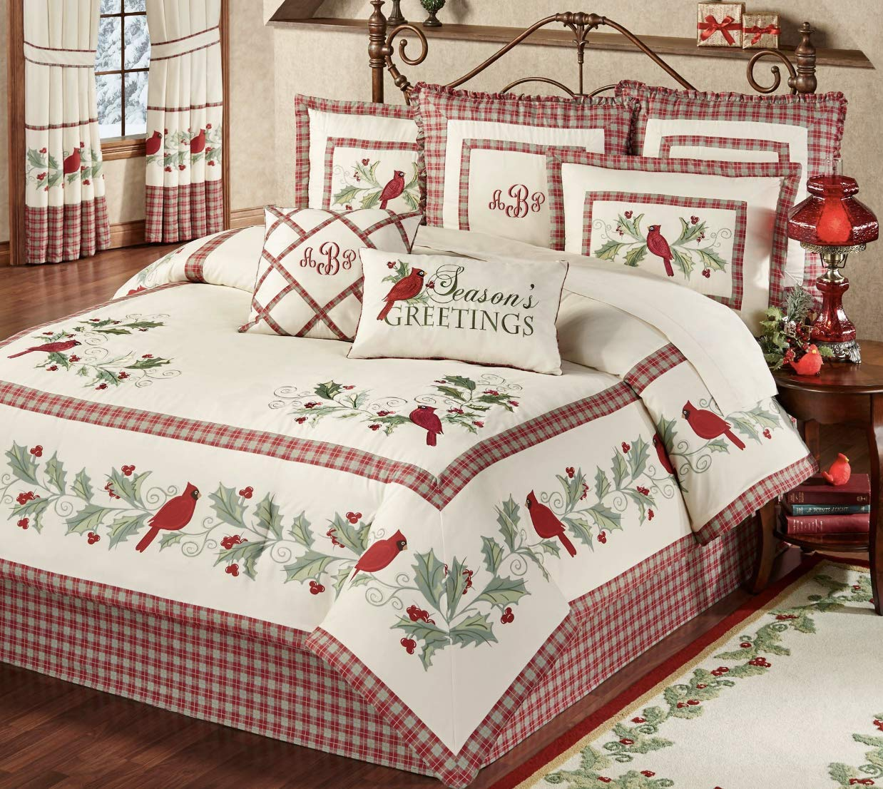 Christmas Comforter.Amazon Com Touch Of Class Red Bird Cardinal Comforter Set