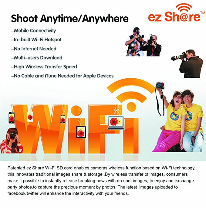 Ez Share Wifi Sd Memory Card 32 GB Class 10 2nd Generation available for  DCs/DVs/DSLRs/DPF,etc