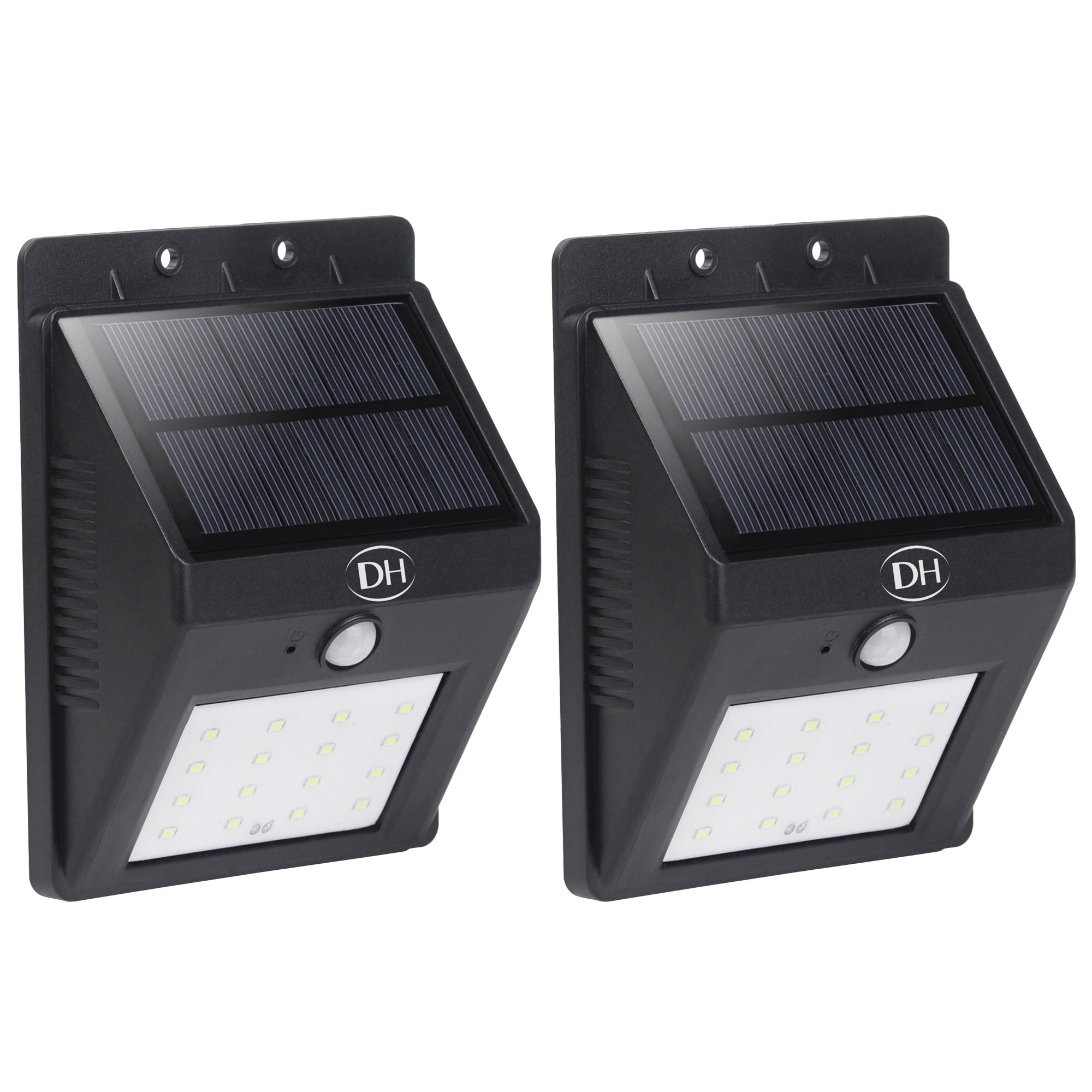 SHDH Solar Powered 16 LED Outdoor Security Wall Lights with Motion Sensor, Super Bright, Weather-Proof, Easy Installation, No Wire Needed, Suitable for Backyard, Deck, Patio and Garage, 2-Pack