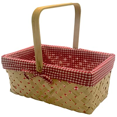 CALIFORNIA PICNI Picnic Basket Natural Woven Bamboo with Folding Handle | Easter Basket | Storage of Plastic Easter Eggs and Easter Candy | Organizer Blanket Storage | Bath Toy and Kids Toy Storage : Garden & Outdoor