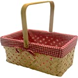 CALIFORNIA PICNI Picnic Basket Natural Woven Bamboo with Folding Handle   Easter Basket   Storage of Plastic Easter Eggs and