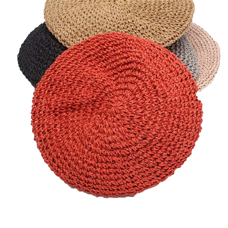 Original Design Hand Hook Women Papyrus Beret Hats Ladies Flat Straw Solid Cap Spring Autumn