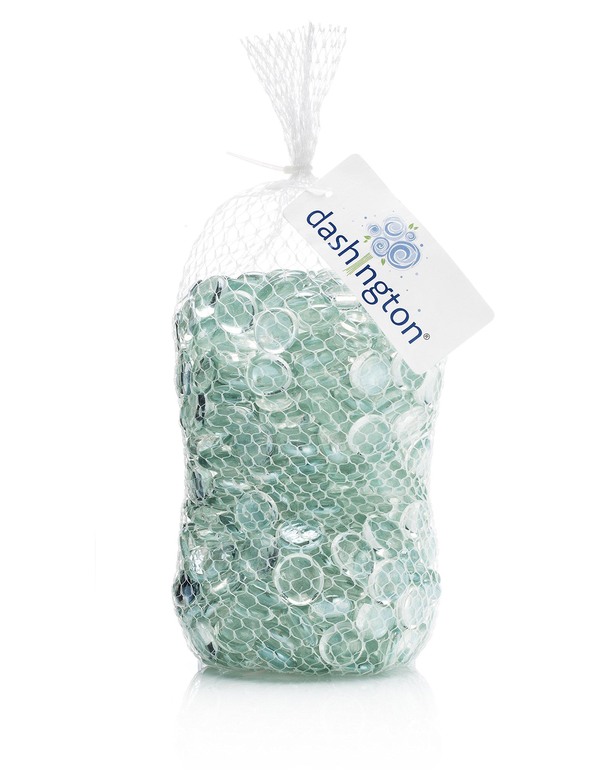 Dashington Flat Rainbow Clear (iridescent) Gems, Pebbles (5 Pound Bag) for Vase Filler, Table Scatter, Aquarium Decor Gravel Accent - New Packaging