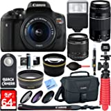 Canon T6i EOS Rebel DSLR Camera w/ EF-S 18-55mm & 75-300mm III Lens Kit + Accessory Bundle 64GB SDXC Memory + SLR Photo Bag + Wide Angle Lens + 2x Telephoto Lens + Flash + Remote + Tripod & More