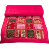 """Tribe Azure Fair Trade Pink Table Runner Cotton 18"""" x 58"""" Handmade Embroidered Boho Bohemian Colorful Patchwork Indian…"""