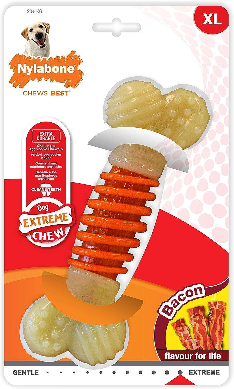 Nylabone Hueso masticable Doble de la Gama Extreme Juguete masticable para la higiene Dental de los Perros | Sabor a beicon | Grande | para Perros de hasta 23 kg