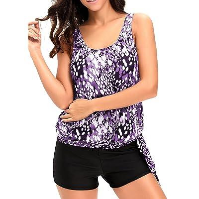 Aleumdr Womens dewdrop Printed Blouson Side Ties Tankini Swimsuits With Swim Shorts S - XXXL Plus Size
