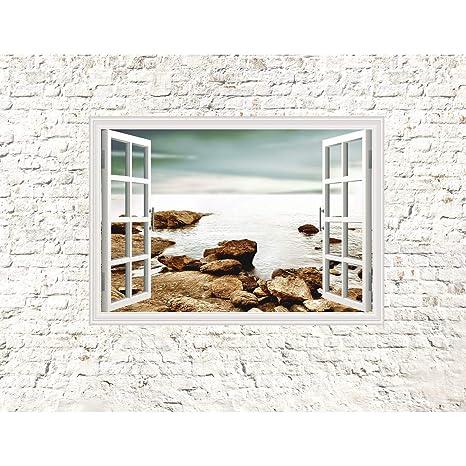 Fototapeten Fenster zum Meer 352 x 250 cm Vlies Wand Tapete Wohnzimmer  Schlafzimmer Büro Flur Dekoration Wandbilder XXL Moderne Wanddeko - 100%  MADE ...