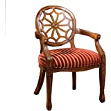 Furniture of America Gwendolyn Victorian Style Padded Fabric and Hand-Carved Frame Arm Chair, Antique Oak Finish