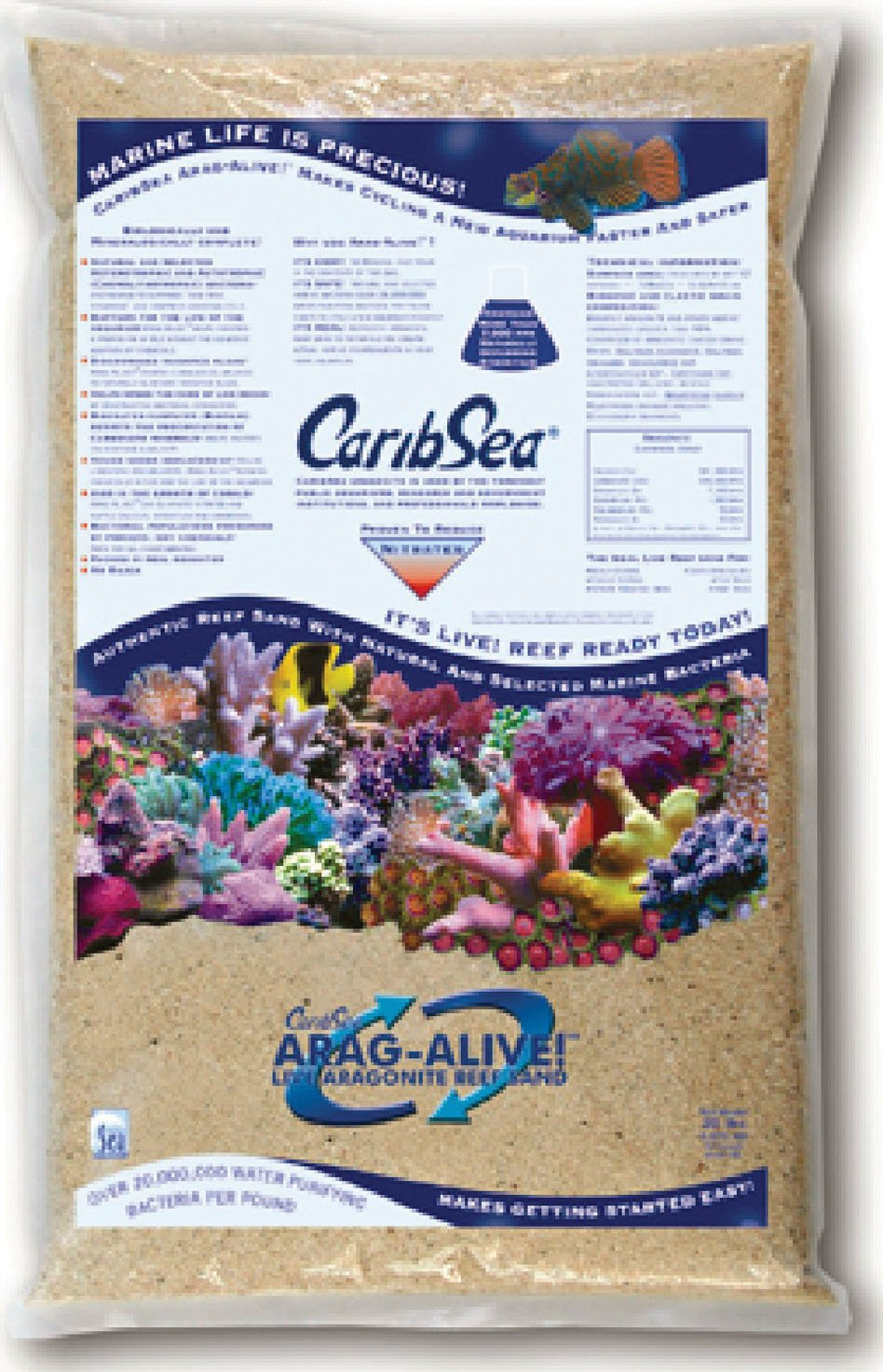 CaribSea Arag-Alive 20-Pound Special Grade Reef Sand, Bahamas Oolite by Carib Sea