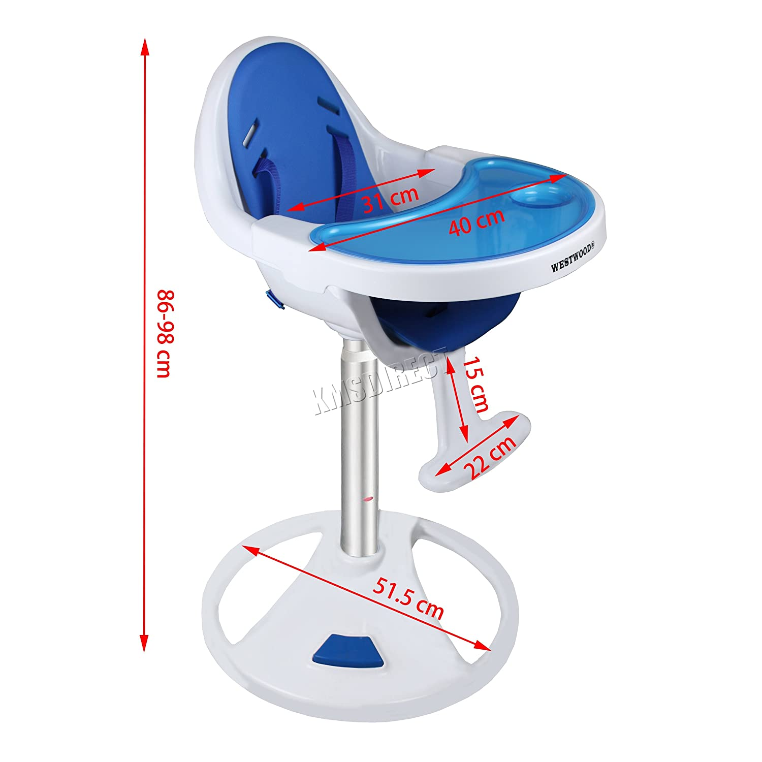 WestWood Baby High Chair 360 Infant Feeding Booster Adjustable Height Seat Swivel Toddler Table-Mounted Nursery Furniture BHC03 Blue