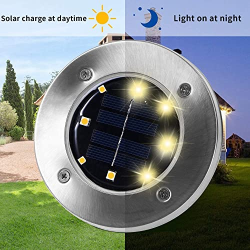 SEFON Solar Ground Lights – 8 LED Solar Garden Lights Outdoor Disk Lights Waterproof In-Ground Outdoor Landscape Lights for Lawn Patio Pathway Yard Deck Walkway, Warm White 8 Pack
