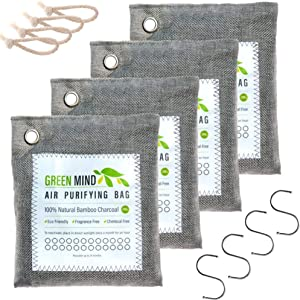 Green Mind Supply Bamboo Charcoal Air Purifying Bag 12 Piece Kit (4x200gm, 4 Hooks & 4 Robes) Activated Charcoal Bags Odor Absorber to Naturally Freshen Air in Home & Car - Kid & Pet Friendly