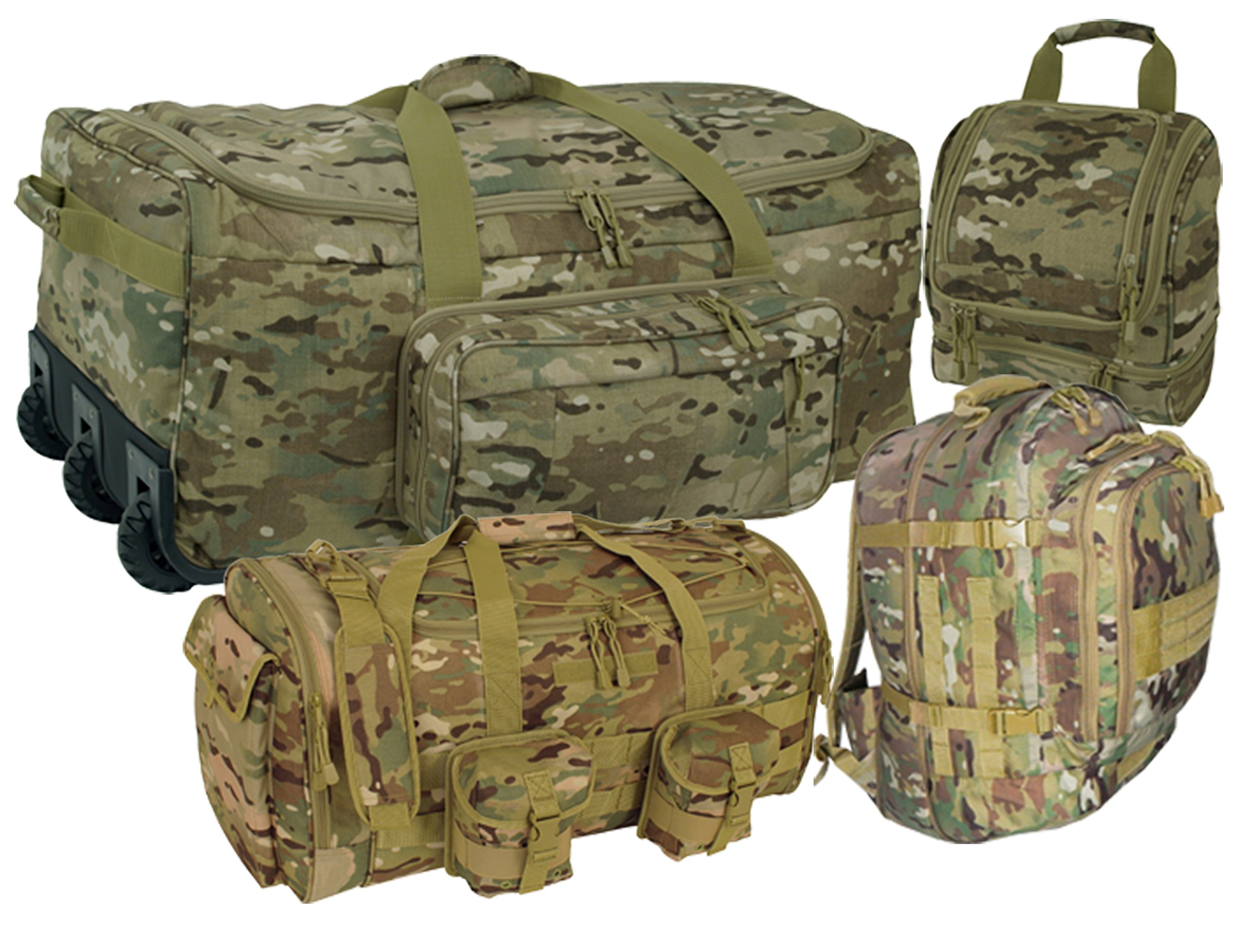 Multicam OCP 4 Piece Travel Kit: Deployment Bag, 3 Day Packpack, Commander Duffle & Shave Kit by Code Alpha
