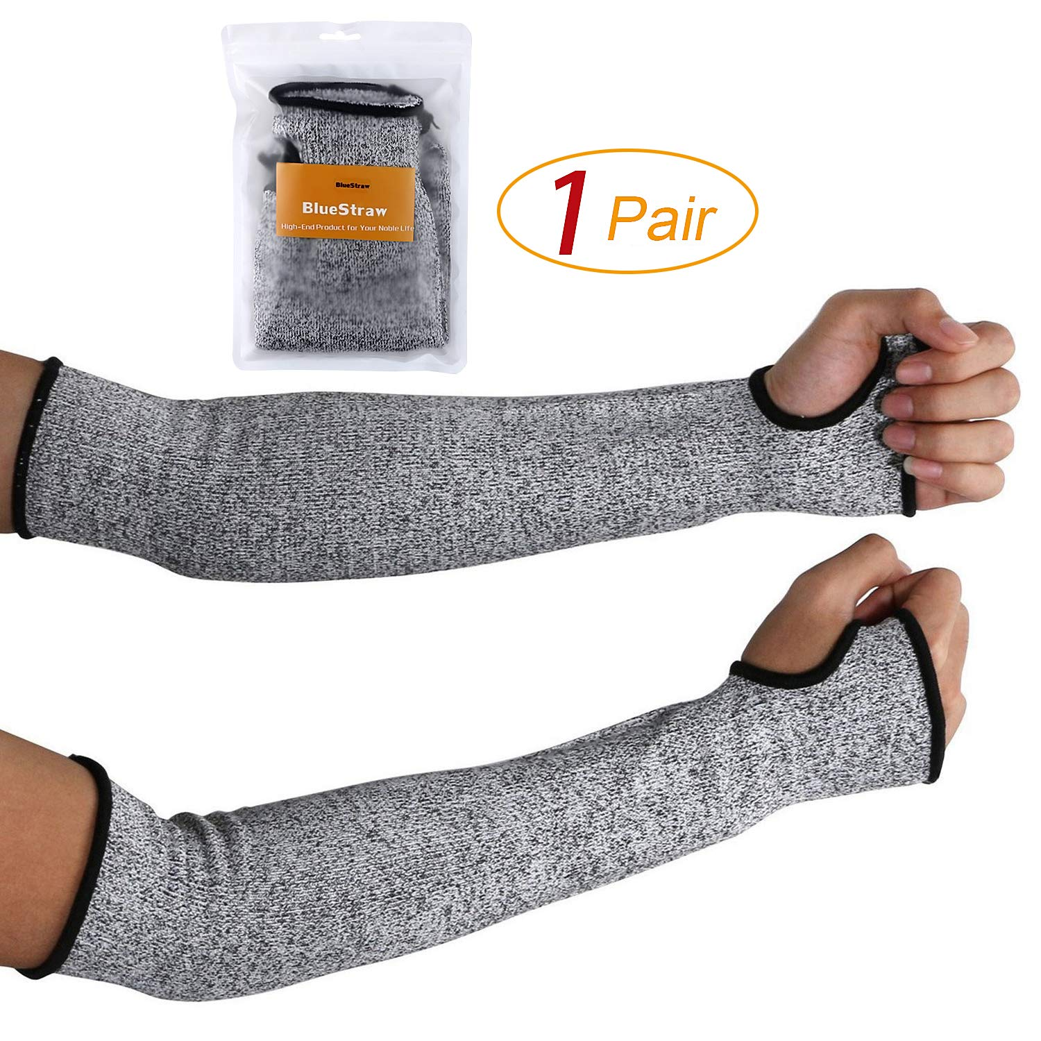 Cut Resistant Sleeves 14-Inch Arm Protection Knit Sleeves - Level 5 Protection, Slash Resistant Sleeves with Thumb Slot Helps Prevent Scrapes, Scratches Skin Irritations UV-Protection, 1 Pair by BlueStraw