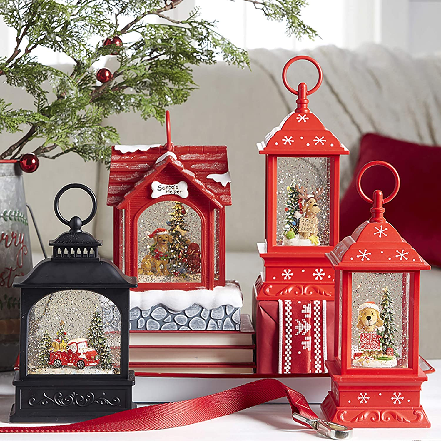 Vita Domi Dogs in Red Truck Scene Lighted Water Lantern Christmas Snow Globe with Swirling Glitter