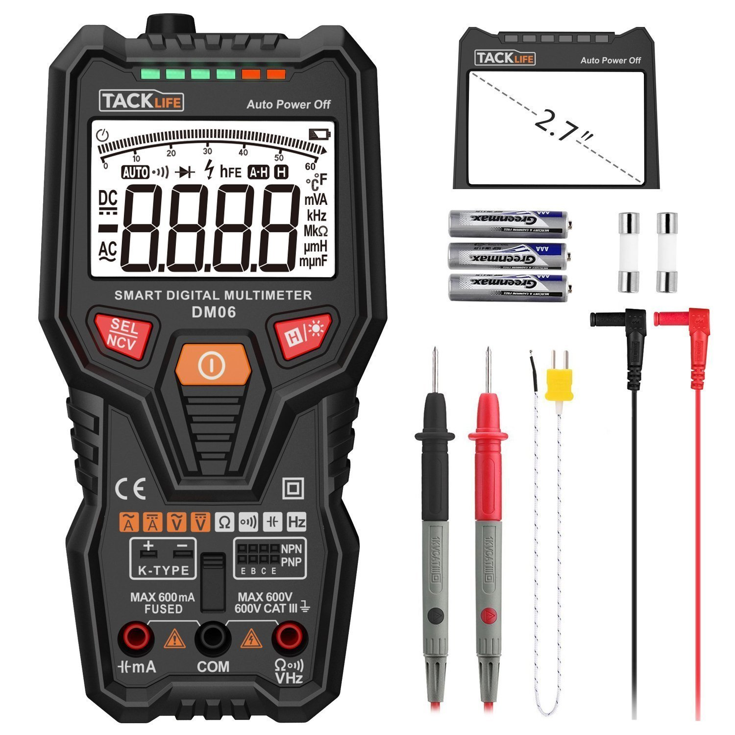 Multimerter Dm06 Trms 6000 Counts Tester Auto Ranging Electronic Automotive 0v To 12v Electrical Voltage Indicator Amp Volt Ohm Meter Multimeter With Frequency Temperature Transistor