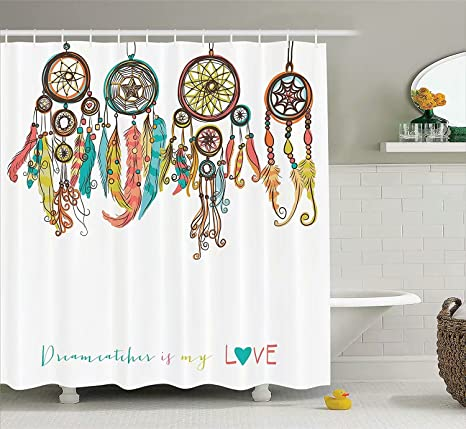 Evely Shower CurtainA Dream Catcher Curtains Waterproof Polyester Blackout Draperies Window Solid Grommet