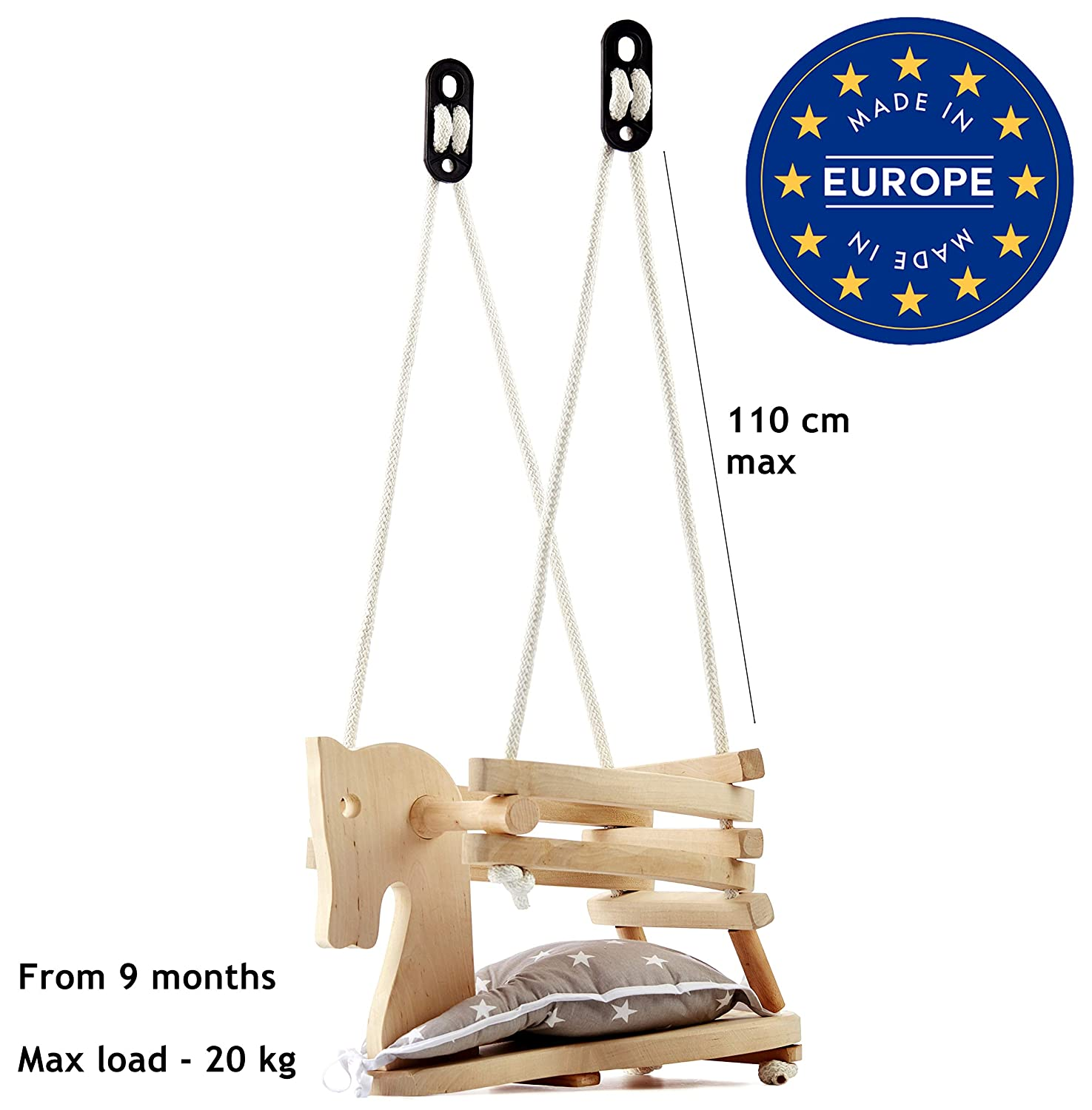 Wooden Swing Must Have Nursery or Playground Equipment For Use Indoors or Outdoors by Malimas Baby Toddler Natural Wood Horse Figure Safety Swing Seat Chair
