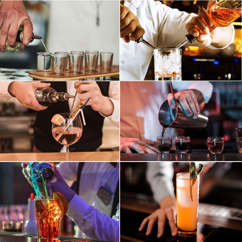 Compra Juego de coctelera de cóctel 12 piezas Juego de coctelería de bar con coctelera profesional de bartender, colador, jigger, licor de vertido, ...