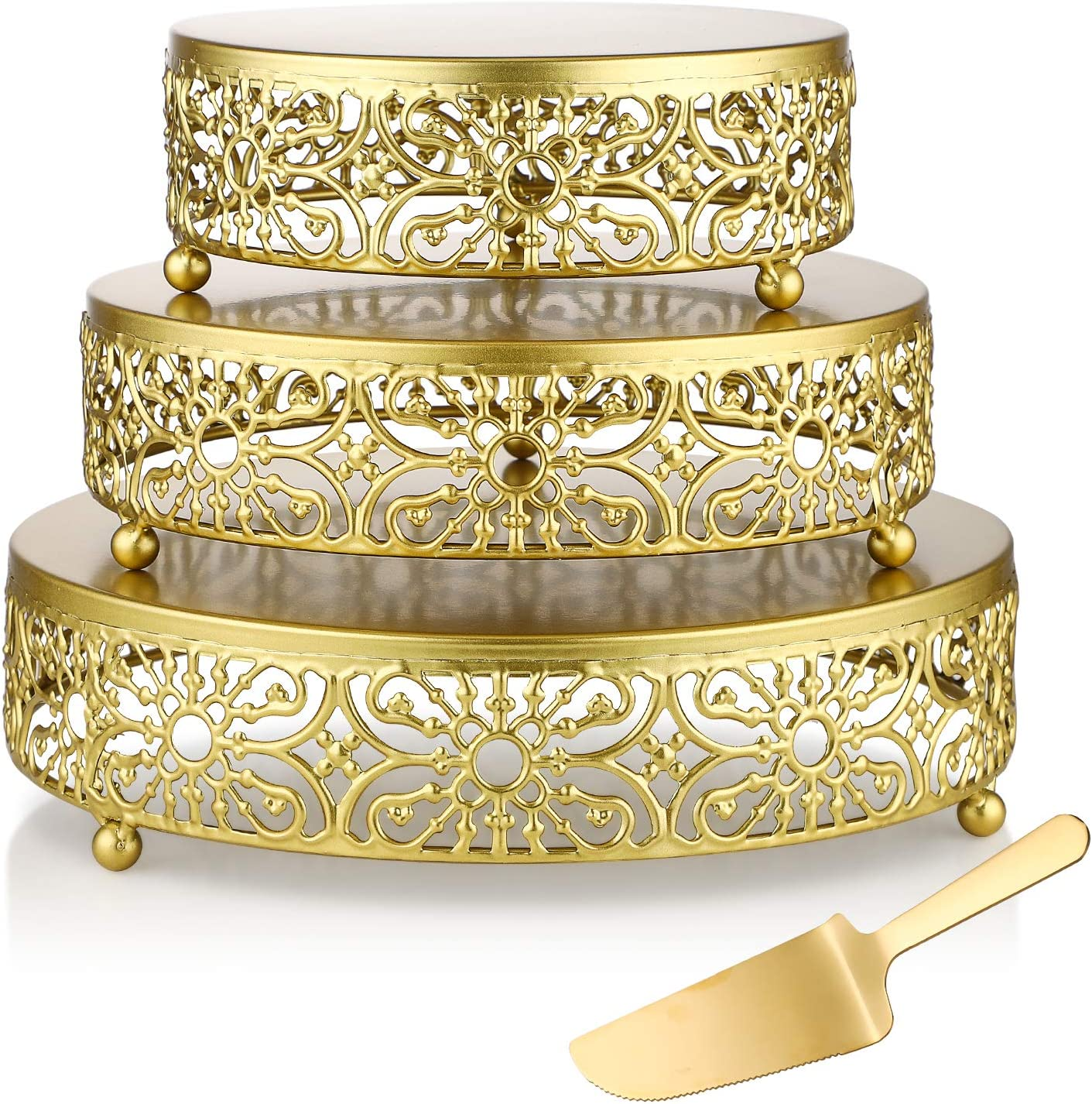 3-Piece Set Cake Stand - 8/10/12 Inch Cupcake Holder Cheese Dessert Display Plate Decor Serving Platter Cupcake TableCraft Stand Tray for Wedding Party Birthday Celebration Bases (Gold)