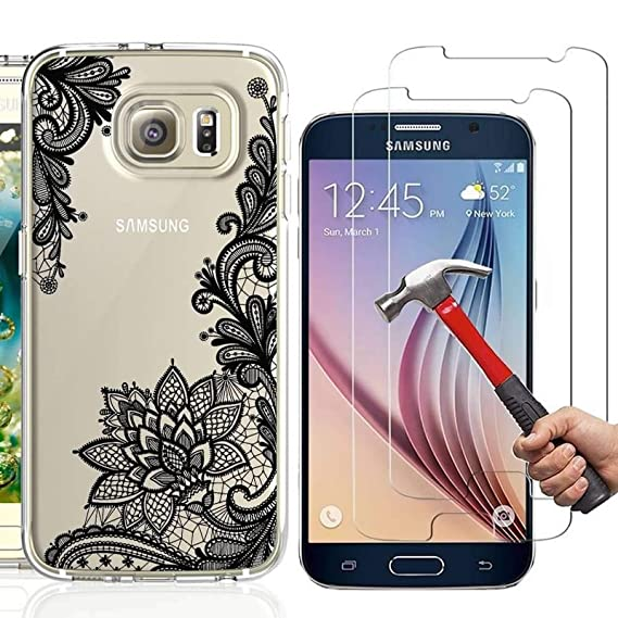 the latest e74c4 54c73 Amazon.com: Samsung Galaxy S7 Case with 2 Pack Glass Screen ...