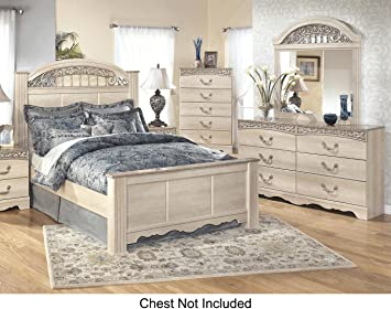 Catalina Queen Bedroom Set With Panel Bed Dresser And Mirror In Antique  White