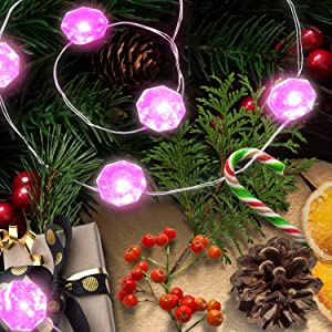 Lauva Fairy Lights Battery, Diamond Pink Copper Wire Twinkle Lights String 10ft 40 LEDs Wedding Decoration with Remote Timer for Home Garden Bedroom Valentines Day Birthday Anniversary Party Decor