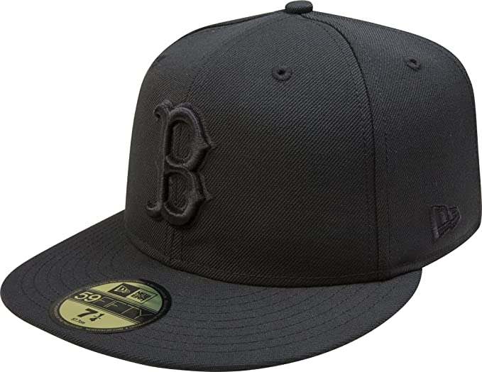 98c8257712e56f MLB Boston Red Sox Black on Black 59FIFTY Fitted Cap, 7. Roll over image to  zoom in. New Era